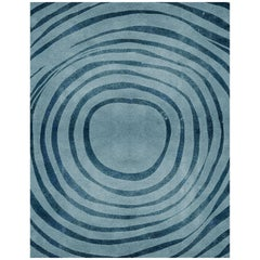 Eye Blue Area Rug in Hand-Tufted Wool and Botanical Silk by Rug'Society