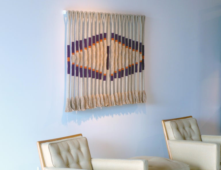 Hand-Knotted 'Eye' by Fiber Artist Jane Knight For Sale