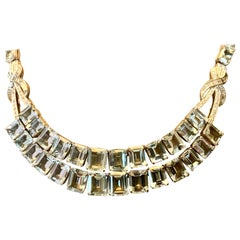 18 Karat White Gold Vintage Diamond and Aquamarine Necklace