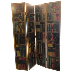 Eye-Catching Book Motife Tromp L'oeil Screen Room Divider