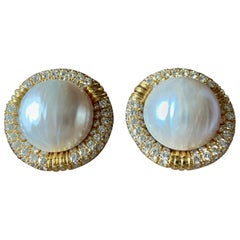 Eye-Catching Retro Chanel Style 18 Karat Gold Diamond and Mabe Pearl Ear Clips