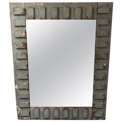 Eye-Catching Rustic Grey Blue Painted Reclaimed Wood Mirror