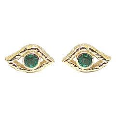 Jacqueline Rose Eye Emerald Stud Earrings