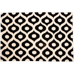 21st Century Eye Pattern Hand-Tufted Wool Rug Black and White