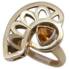 Metaalia Jewelry Eye of Horus Ring with Bezel-Set Citrine Trillion