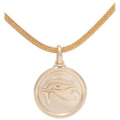 Eye of Horus Spiral Pendant Necklace with Pink Tourmaline