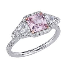 Eye of the Passion Pink Sapphire and Diamond Micro Pave Platinum East-West Ring
