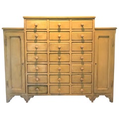 Eye Popping Antique 21-Drawer Cabinet in French Yellow