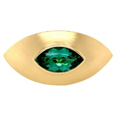 Georg Spreng - Eye Ring 18K Yellow Gold Marquis Natural Blue Green Tourmaline
