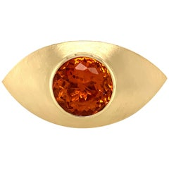 Georg Spreng - Eye Ring 18 Karat Yellow Gold with Round Natural Orange Citrine