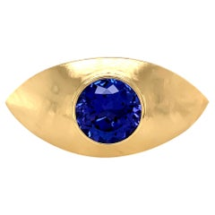 Georg Spreng - Eye Ring 18 Karat Yellow Gold with Round Natural Blue Tanzanite