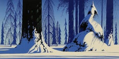"""Eyvind Earle """"Winter"""" Signed Limited Edition Screen Print Sergraph"""