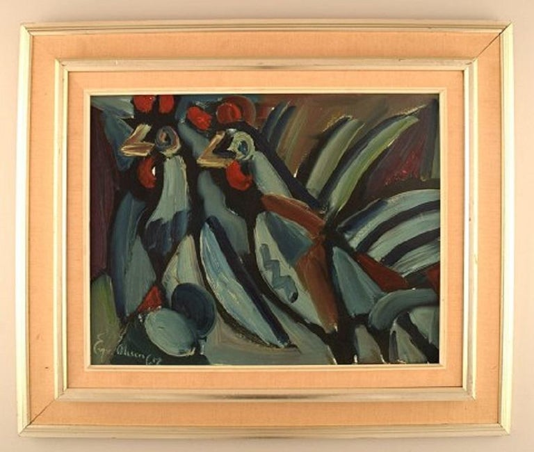 Eyvind Olesen (1907-1995), Denmark. Oil on canvas. Two roosters. Dated 1967. The canvas measures: 40 x 31 cm. The frame measures: 9 cm. In excellent condition. Signed.