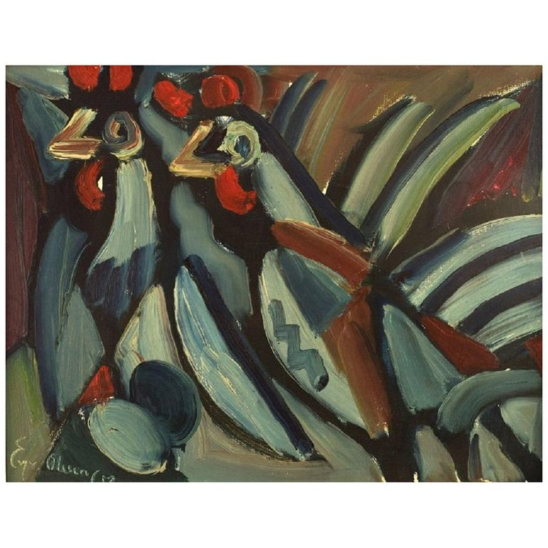Eyvind Olesen, Denmark, Oil on Canvas, Two Roosters, Dated 1967 For Sale