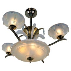 Ezan Art Deco Opalescent Glass and Bronze and Nickel French Chandelier