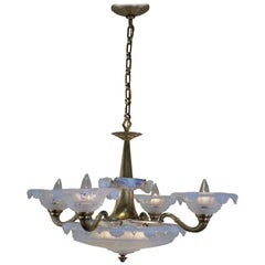 Ezan Art Deco Opalescent Glass and Bronze French Chandelier