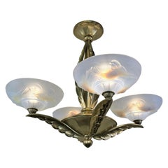 Ezan & Petitot Opalescent Glass and Bronze Chandelier