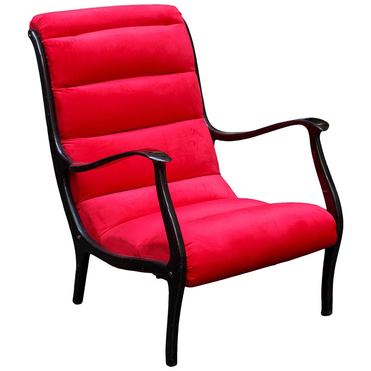 Ezio Longhi Red Velvet Armchair Mid-Century Modern, Italy, 1950s