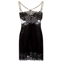 F/2019 L#49 VERSACE BLACK LACE DRESS w/CHAIN DETAILS as seen as Emily  40
