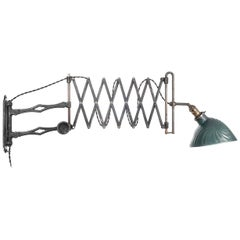 F. A. Hardy Scissor Lamp with Mercury Glass Shade