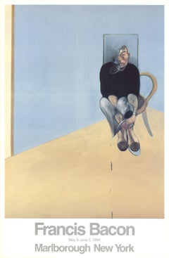 "Francis Bacon-Seated Man-39"" x 25.5""-Poster-1984-Contemporary-Blue, Brown"