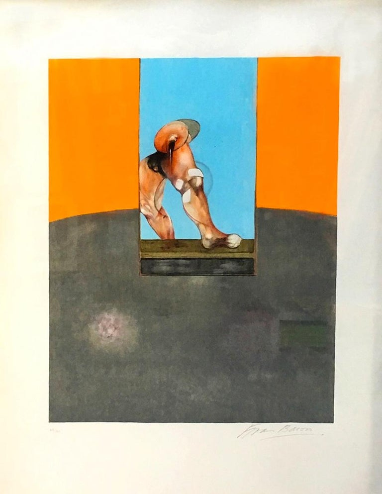 Triptych 1987 is a very rare colored lithograph realized by Francis Bacon in 1989.   Colored lithograph on Arches paper. Hand-signed by the artist on the lower right in pencil. Numbered in pencil on lower left. Edition 65/180. Published by Galerie