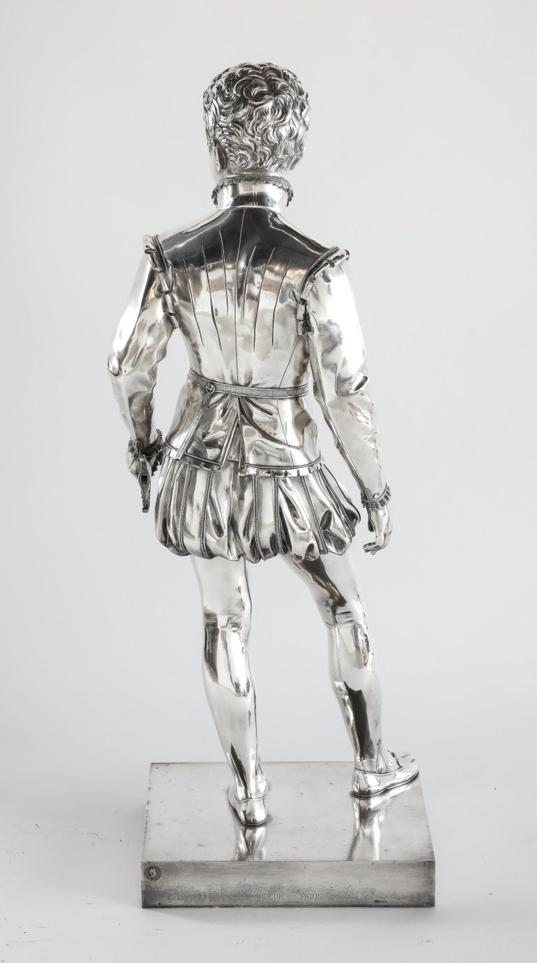 F. Barbedienne, a Life-Size Silvered Bronze of King Henri IV Enfant as a Child For Sale 6