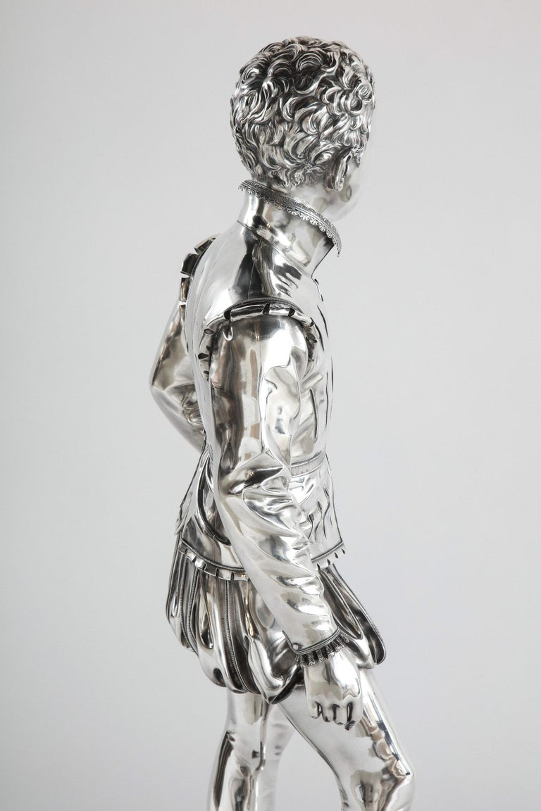 F. Barbedienne, a Life-Size Silvered Bronze of King Henri IV Enfant as a Child For Sale 11