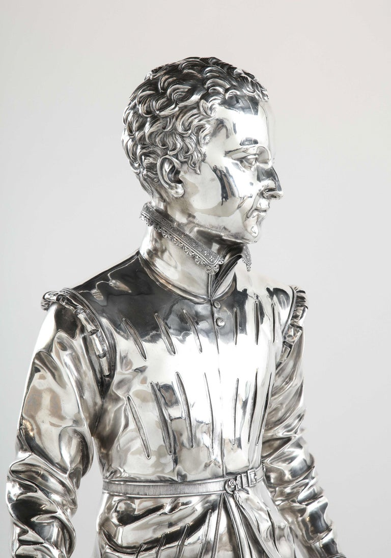 F. Barbedienne, a Life-Size Silvered Bronze of King Henri IV Enfant as a Child For Sale 12