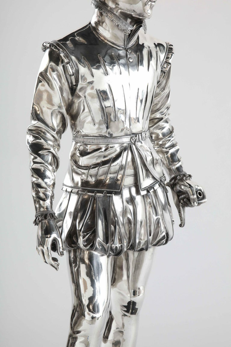 F. Barbedienne, a Life-Size Silvered Bronze of King Henri IV Enfant as a Child For Sale 13