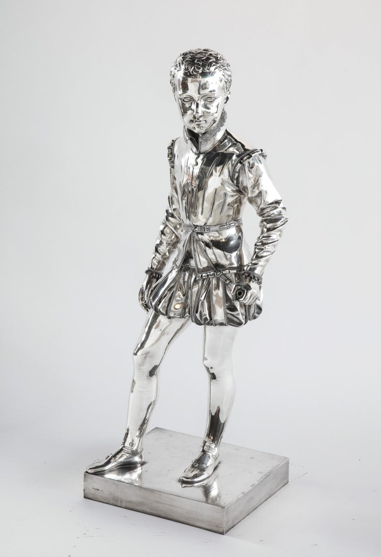 Ferdinand Barbedienne, A life-size silvered bronze sculpture of King Henri IV Enfant As a Child, after Francois-Joseph Bosio, (French, 1768 - 1845), circa 1860.  Foundry mark