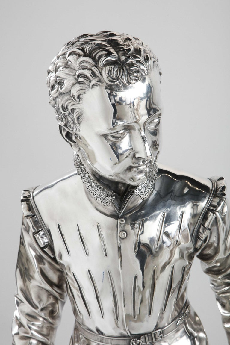 F. Barbedienne, a Life-Size Silvered Bronze of King Henri IV Enfant as a Child For Sale 15