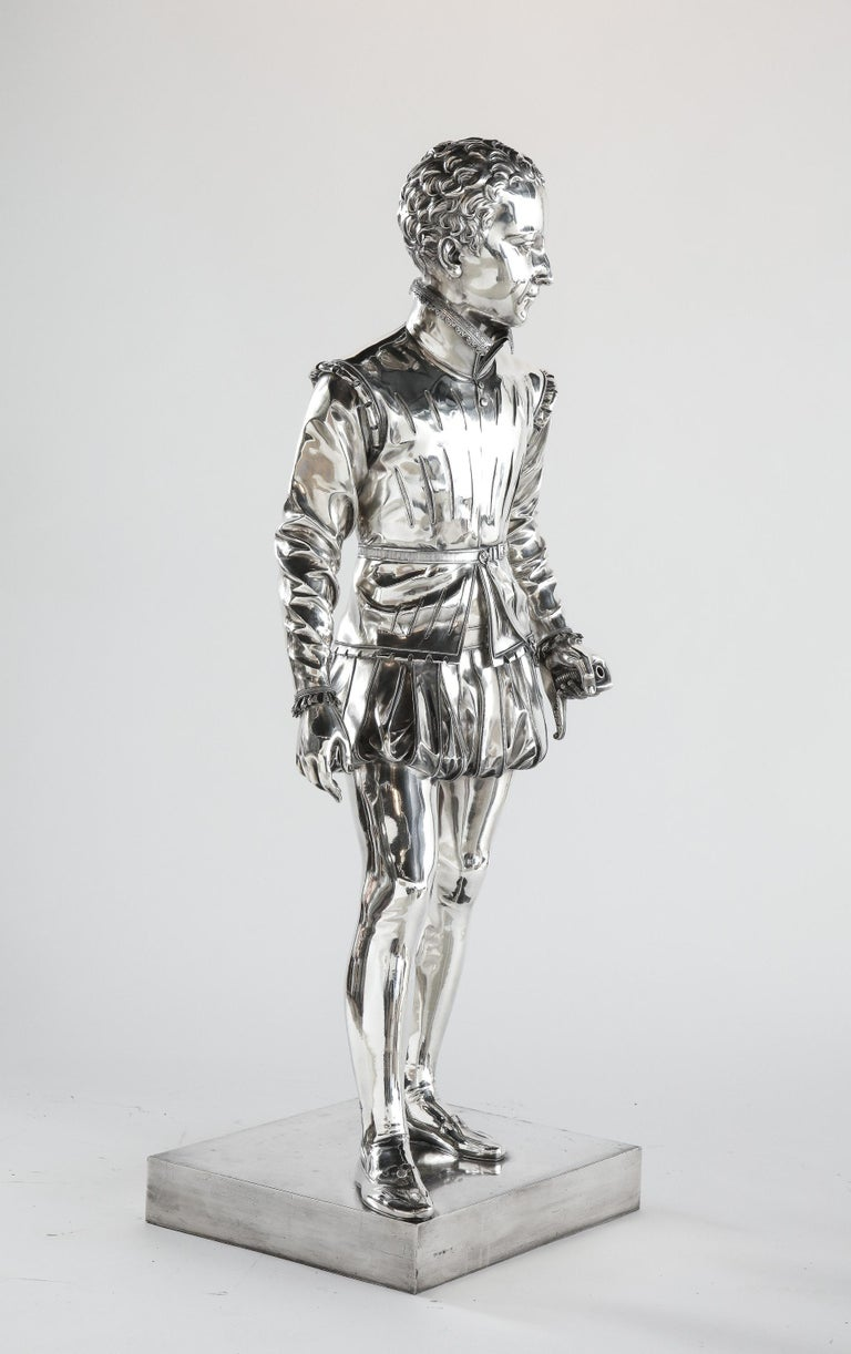 French F. Barbedienne, a Life-Size Silvered Bronze of King Henri IV Enfant as a Child For Sale