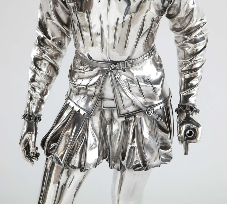 19th Century F. Barbedienne, a Life-Size Silvered Bronze of King Henri IV Enfant as a Child For Sale