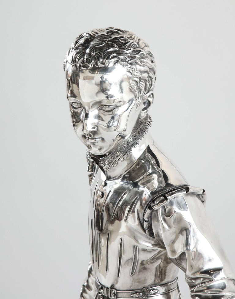 F. Barbedienne, a Life-Size Silvered Bronze of King Henri IV Enfant as a Child For Sale 1