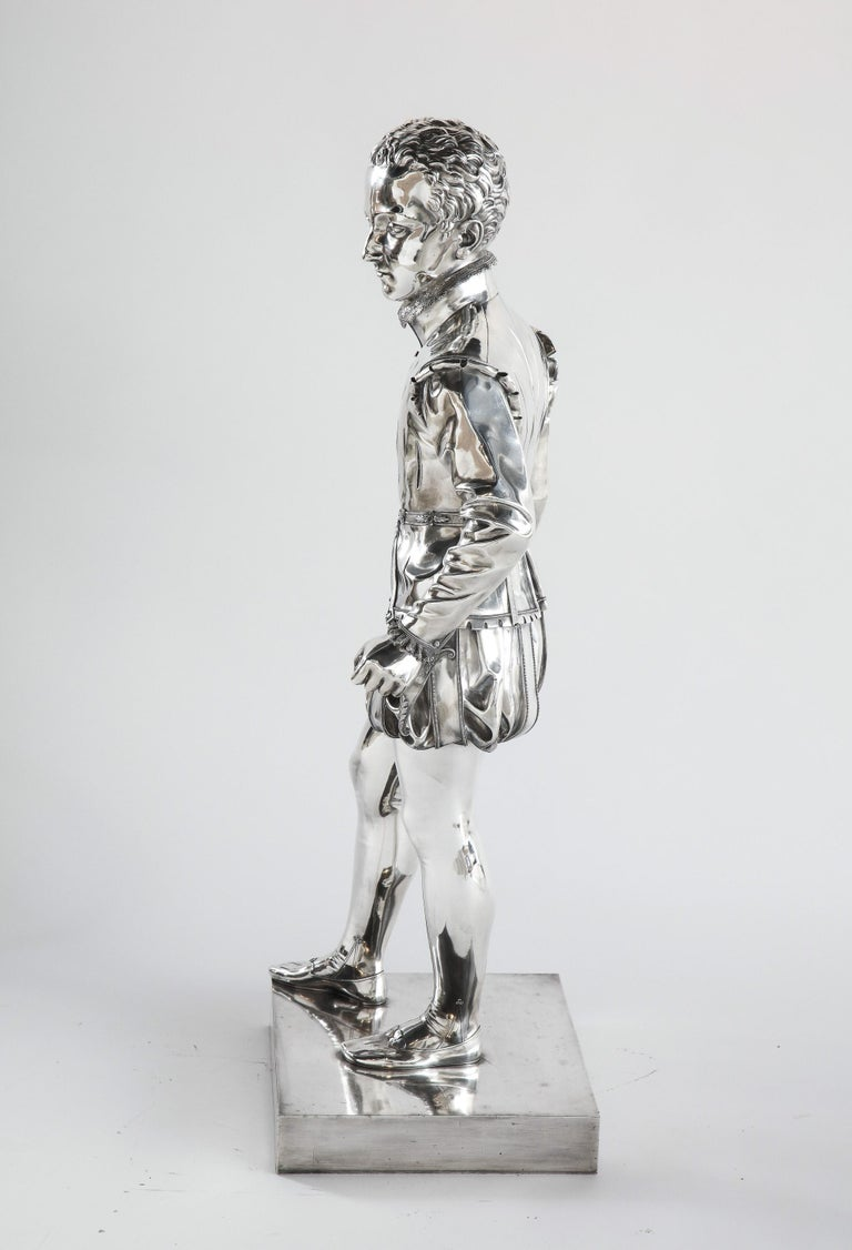 F. Barbedienne, a Life-Size Silvered Bronze of King Henri IV Enfant as a Child For Sale 3