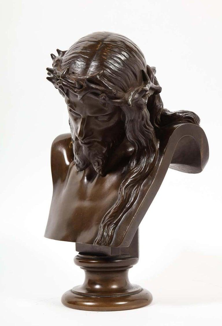 Jean-Baptiste Auguste Clesinger, French Bronze Bust of Jesus Christ, Barbedienne For Sale 8