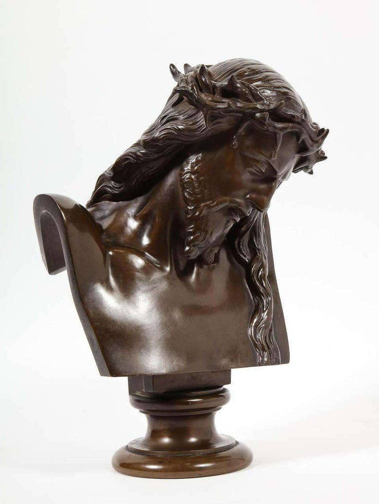 Jean-Baptiste Auguste Clesinger, French Bronze Bust of Jesus Christ, Barbedienne - Sculpture by F. Barbedienne Foundry