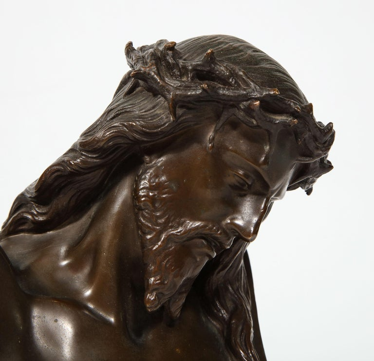 Jean-Baptiste Auguste Clesinger, French Bronze Bust of Jesus Christ, Barbedienne - Gold Figurative Sculpture by F. Barbedienne Foundry