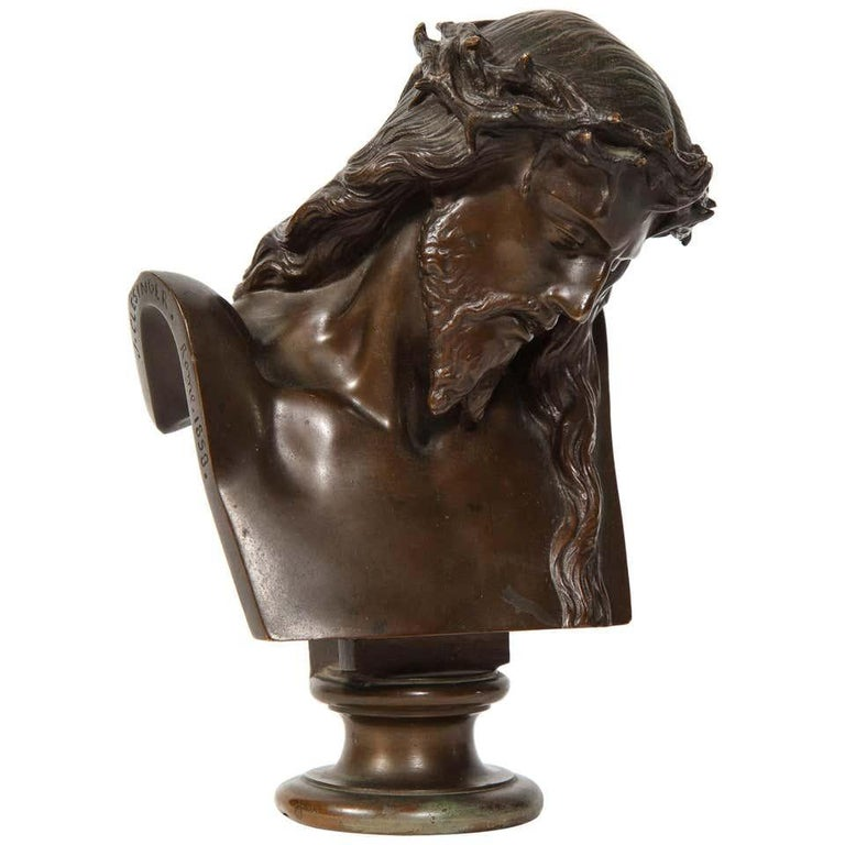 F. Barbedienne Foundry Figurative Sculpture - Jean-Baptiste Auguste Clesinger, French Bronze Bust of Jesus Christ, Barbedienne