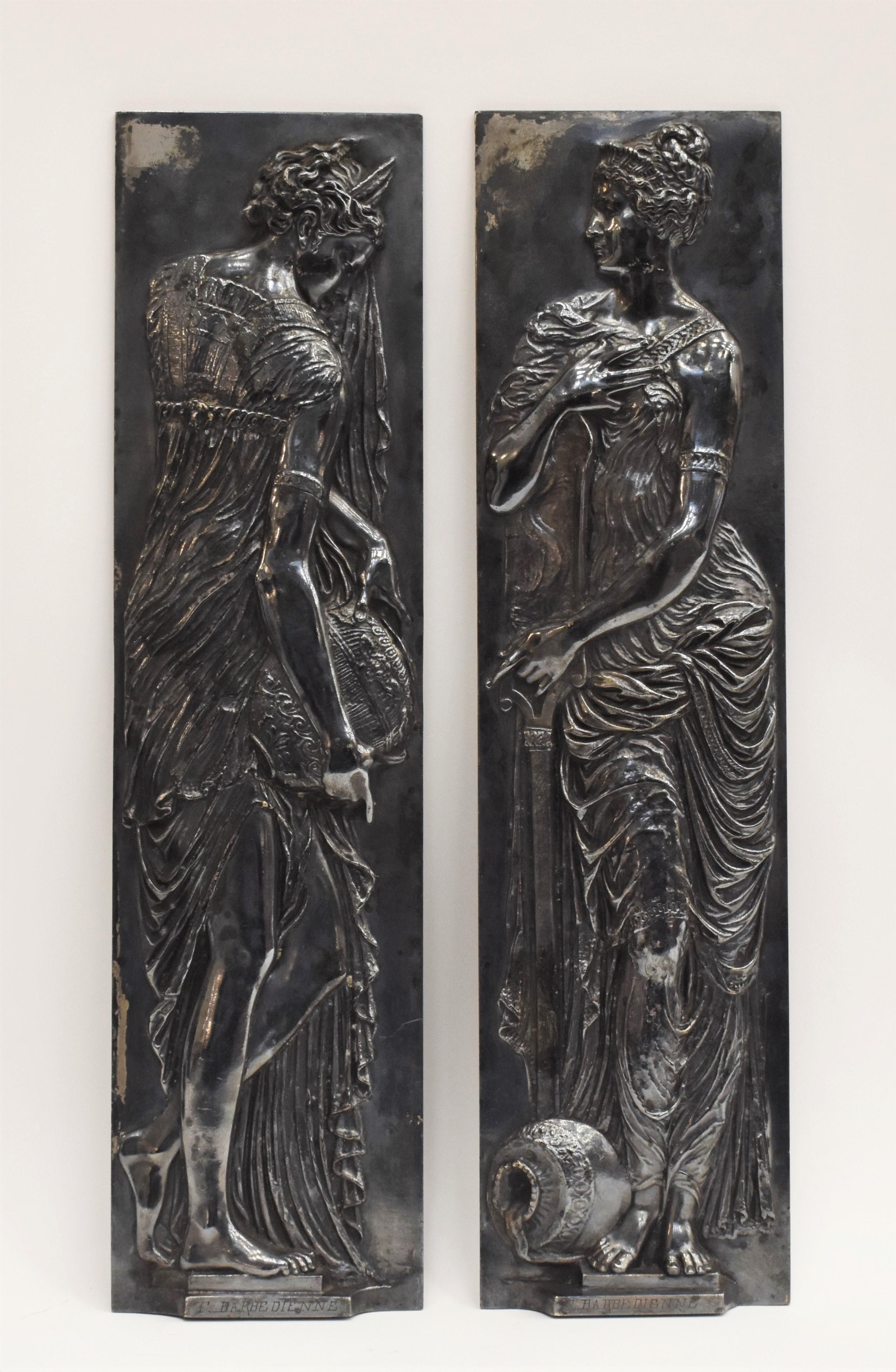Two Naiads, after Jean Goujon French classicism Barbedienne Foundry bronze