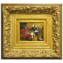 F. Boyle Signed Oil on Board Gold French Style Frame Cat Kittens Flower Painting