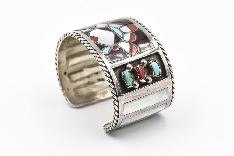 Women's or Men's F. C. Gasper Native American Zuni Inlay Face Turquoise Silver Cuff Bracelet For Sale
