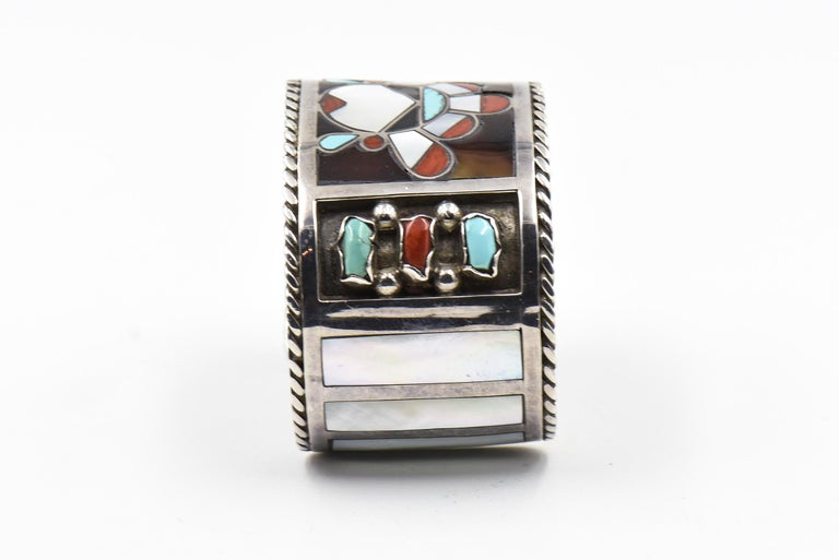 F. C. Gasper Native American Zuni Inlay Face Turquoise Silver Cuff Bracelet For Sale 1
