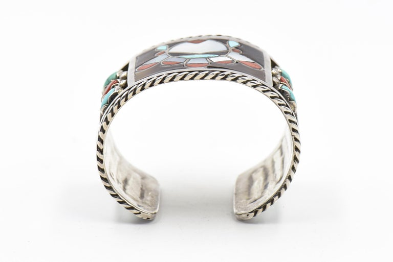F. C. Gasper Native American Zuni Inlay Face Turquoise Silver Cuff Bracelet For Sale 2
