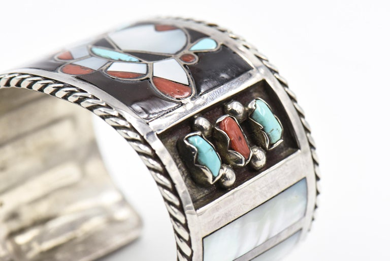 F. C. Gasper Native American Zuni Inlay Face Turquoise Silver Cuff Bracelet For Sale 3