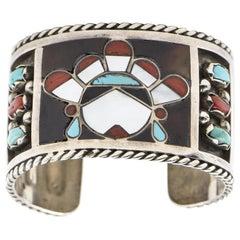 F. C. Gasper Native American Zuni Inlay Face Turquoise Silver Cuff Bracelet