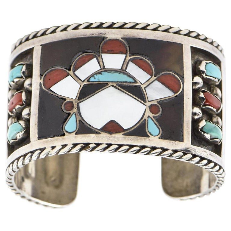 F. C. Gasper Native American Zuni Inlay Face Turquoise Silver Cuff Bracelet For Sale