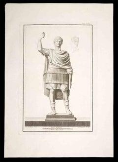 Ancient Roman Statue - Original Etching on Paper - 18th Century