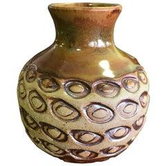 F. Carlton Ball Midcentury Signed Ceramic Pottery Patterned Glazed Studio Vase